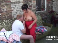 Fat old lady fucked on outdoor couch
