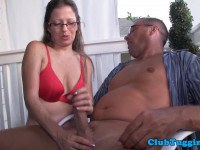 Horny MILF milking big dick on the porch