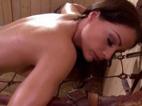Helpless brunette toyed
