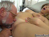 Busty gal eaten and fucked out by grandpa